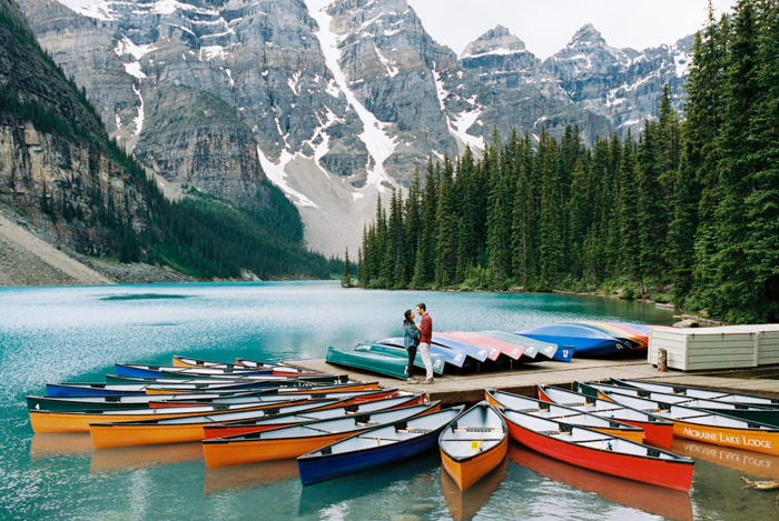 Engagement Session at Moraine Lake Canoes